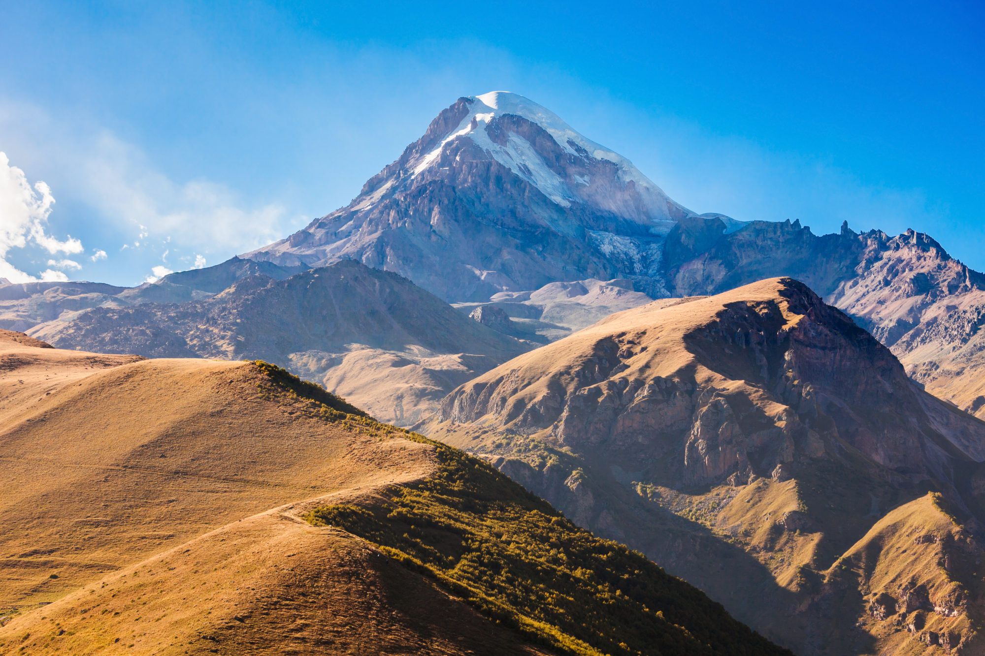Snowy peaks of Volcano Kazbek