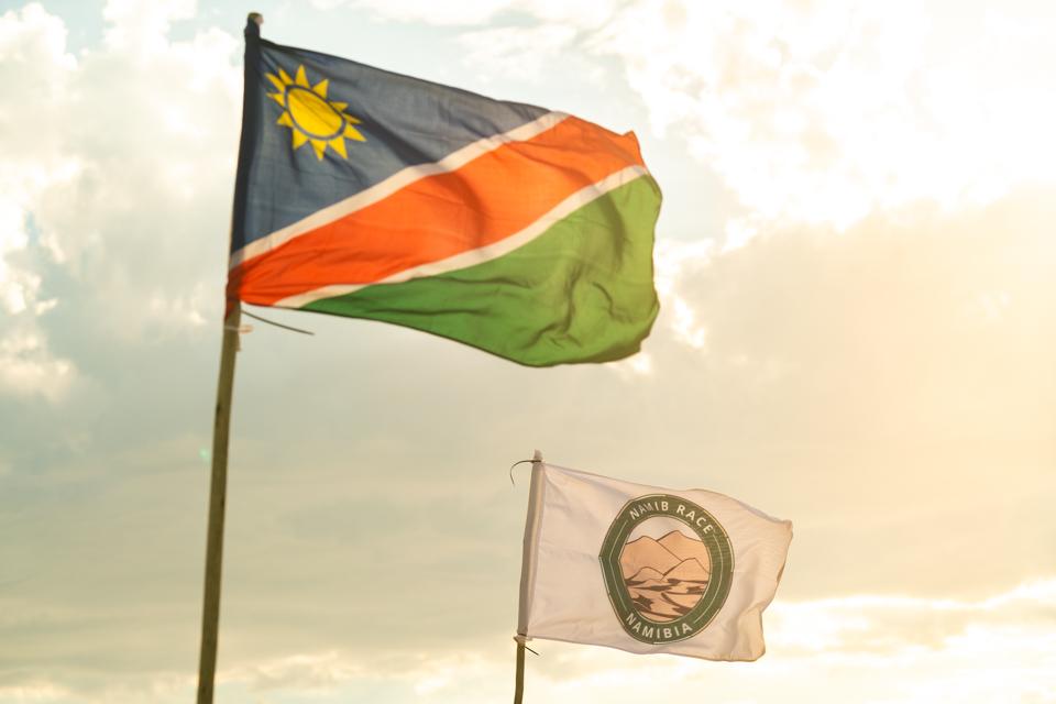 Flag of Namibia and the Namib Race flag