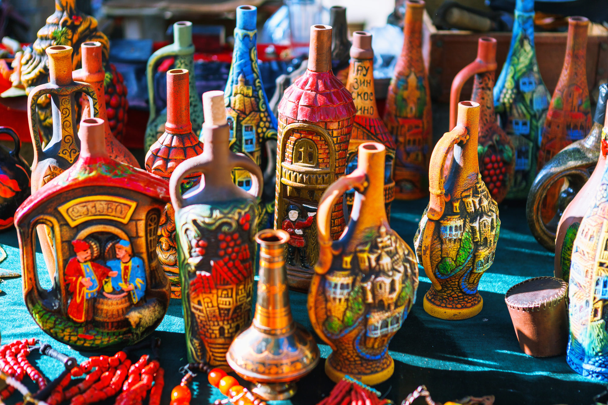 Colourful flea market in Tbilisi